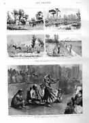 Old Antique Print 1885 Nautch Mansion Lord Mayor Florida Narcossee Swamp 19th