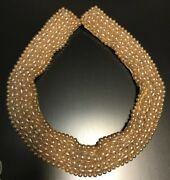 Antique Beaded Glass Pearl Necklace Sewn Collar On Silk Blouse Enhancer Choker
