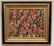 Xl Jackson Pollock Abstract Art Framed Painting Signed