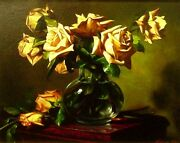 William Martin Yellow Rose Unstretched Hand Signed Giclee Art On Canvas L@@k