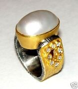 24k Gold, Genuine Diamond And Mabe Pearl Ring Size 5.5