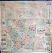 Antique Wall Map New Haven County Ct Connecticut