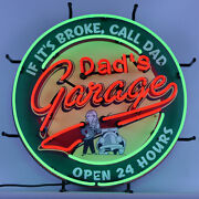 Neon Sign Lot Of 5 Dads Garage 24 Hour Service Hot Rod Muscle Car Route 66 Lamp