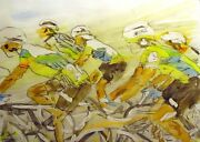 Nelson Original Watercolor Bike Riders Bicycle Race Art Submit Best Offer