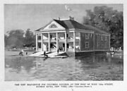 Columbia College Boat House Hudson River Aquatic 1895 Antique Rowing New York