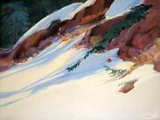 Mary Schmidt Above Vail Original Acrylic Painting On Canvas Colorado Winter