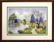 Jeremy King Temple Signed Serigraph Rowboats Boat Racing Submit Best Offer