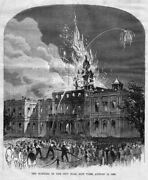 Firemen, Burning Of The City Hall, Antique Firefighting