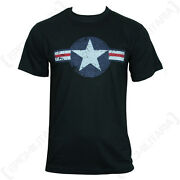 Black Usaf T-shirt - Us American Air Force Roundel Star Stripes Top T Shirt New