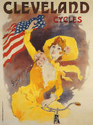 Cleveland Cycles Bicycle Bike Girl American Usa Us Flag Vintage Poster Repro