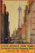 Fifth Avenue Shopping Street New York City Train Travel Vintage Poster Repro