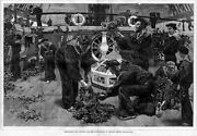 Decorating Flagship Victory Lord Nelson Royal Navy Ship Antique 1876 Engraving