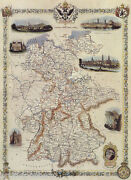 1800and039s Map Germany German Bird Eye View Dresden Bohemia Prussia Repro Poster