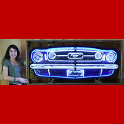 Ford Mustang Grille Neon Sign In Solid Steel Enclosure Garage Wall Lamp Light
