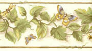 Country Ivy Vines Butterflies Beetle Bugs Bees Wallpaper Wall Border Decor