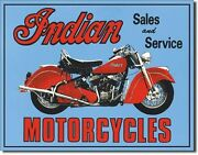 Vintage Replica Tin Metal Sign Indian Sales And Service Motorcycles Blue Bike 127