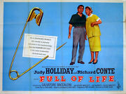 Full Of Life 1957 Judy Holliday Richard Conte John Stockle Uk Quad Poster
