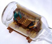 An Extremely Intricate Well Done Folky Bottle Whimsy - Men Playing Checkers.