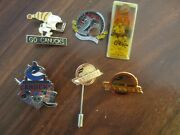Twelve Vintage Vancouver Canucks Lapel Pins And Buttons. Snepts Ring Of Honor