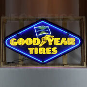 2 Neon Sign 60 Steel Can Goodyear Tires Plymouth Fury Grille Garage Lamp