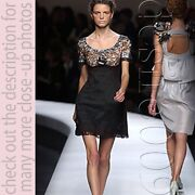 Rochas Black Stretchy Glitter French Lace Evening Cocktail Dress F36 Us4 I40 S
