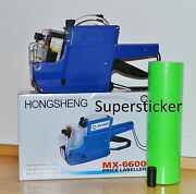 Mx-6600 10 Digits 2 Lines Price Tag Gun Labeler +1 Ink + 5000 Green Tags