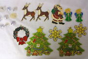 Vintage Lot 10 Plastic And Metal Stained Glass Christmas Window Ornaments 60s