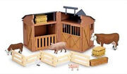 New Collecta 89331 Farm Barn Stable Playset Box Set With Cows Pigs Hay Fence
