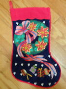 Vintage Hand Crafted Stitched Presents Toys Candy Boys Girls Christmas Stocking