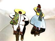 Mexican Sterling Silver Enameled Man And Woman Brooch By Margot De Taxco