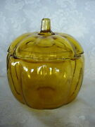Collectible Amber/yellow/gold Glass Pumpkin Shaped Apothecary Jar/cookie Jar