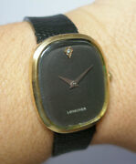 Vintage 1960and039s Longines Museum Dial 10kt Gold-filled Leather Mechanical Watch