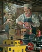 Waltand039s Magical Barn By Bob Byerley Childrens Train Print Signed And Numbered