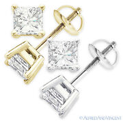 6.00ct Square Princess Cut Moissanite 14k Gold Stud Earrings Charles And Colvard