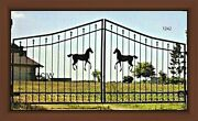 Wrought Iron Style Steel Driveway Gate 11and039 Wd Inc Post Pkg Garden Home Security