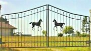 Wrought Iron Style Steel Driveway Gate 11' Wd Inc Post Pkg Garden Home Security