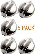 5 Pack Wb03t10284 Range Oven Knob Stainless Steel Finish Ap4346312 Ps2321076