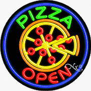 """New """"pizza Open W/logo 26x26x3 Round Real Neon Sign W/custom Options 11162"""