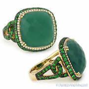 12.79 Ct Green Agate Garnet Diamond Pave Cocktail Ring 14k Yellow And Black Gold