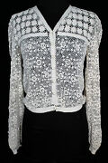 Exceptional Rare Hand Made Antique Irish Lace Edwardian Period Blouse Sz 36