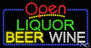 """New """"open Liquor Beer Wine 32x17 Solid/animated Led Sign W/custom Options 25530"""