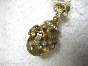Hand Decorated Faberge Enamel And Peridot Egg W/ Crystal Pendant New