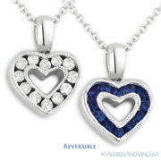 0.75ct Blue Sapphire Diamond Heart Charm 2-sided Necklace Pendant 14k White Gold