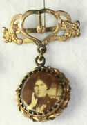 Victorian Antique Gold Filled Sepia Photo Watch Fob Pendant Charm