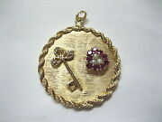 14k Gold And Diamond Key To My Heart Lg Round Handcrafted Pendant Scrap 21.9 Grams