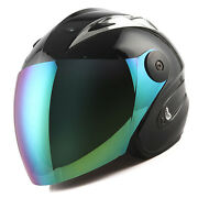 New Motorcycle Open Face Helmet Black Tinted Lens / Shield Racing Style S M L Xl