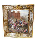Museum Quality / Rare 19th French Enamel Painting Of A Battle.