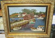 Edward Rankin Mystic Seaport Connecticut Boats At Dock Oil On Canvas Painting