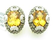 14kt Solid Yellow Gold Genuine Champagne Diamond And Citrine French Back Earrings