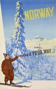 Norway Make It Your Way Vintage Ski Poster Moutain Lake Snow Old Poster 1952
